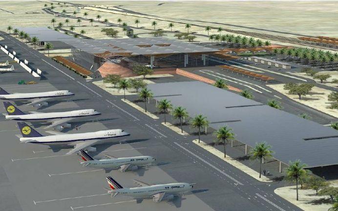 הדמיה של הטרמינל בנמל התעופה רמון. צילום: משרד התחבורה