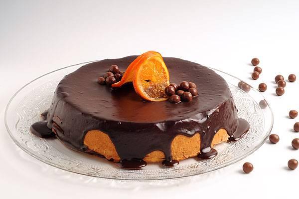 עוגת גבינה בטעם תפוז  בציפוי גנאש שוקולד