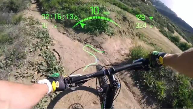 כך רואה רוכב האופניים את הנתונים ואת הדרך באמצעות משקפי הראפטור