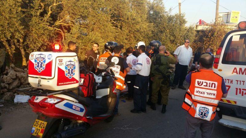 פיגוע הדריסה ,סמוך לבית אריה צילום: דוברות איחוד הצלה