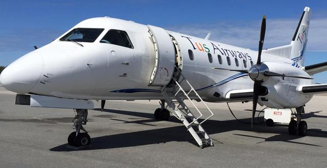 """מטוס Saab340B של חברת TUS. צילום: יח""""צ"""