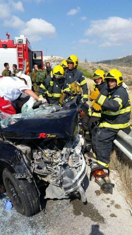 תאונה בין רכב ישראלי לרכב פלסטיני בין אריאל לתפוח