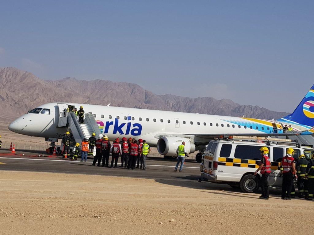 מטוס ארקיע נחת בנמל התעופה רמון