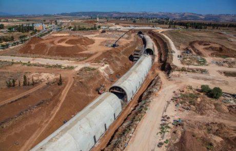 הושלמה יציקת שלוש מנהרות רכבת העמק בעפולה
