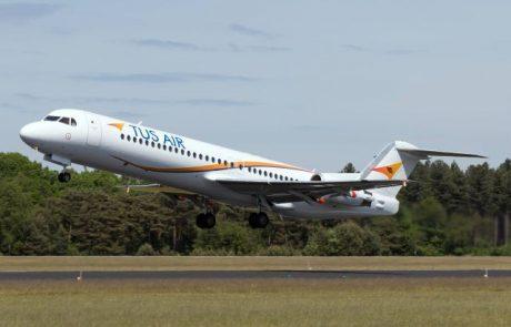 "TUS מפעילה מטוס פוקר 100 סילוני בקו ת""א-לרנקה"