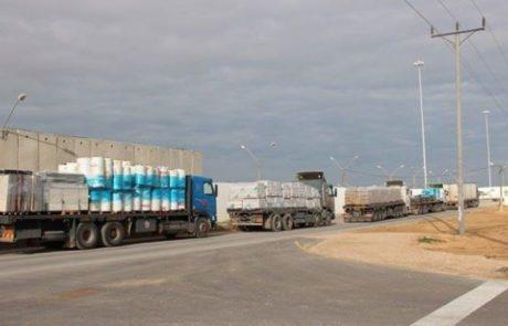 תיאסר תנועת משאיות כבדות בצירים המובילים לרצועת עזה