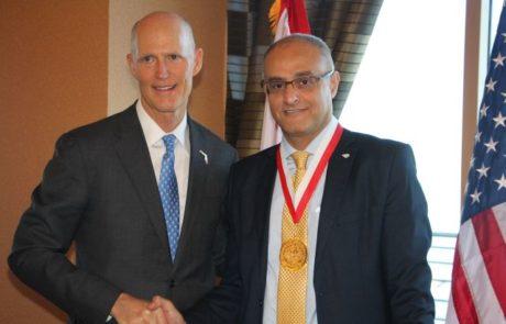 """מנכ""""ל אל על דוד מימון קיבל אות מיוחד ממושל פלורידה"""