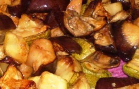 חצילים,קישואים ופטריות אפויים ללא שמן