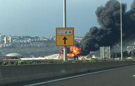 שריפת ענק בחיפה : מיכל דלק התפוצץ ועלה באש בבתי הזיקוק