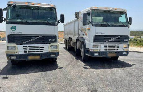 משאיות עם לוחיות רישוי תואמות נתפסו בכביש 444