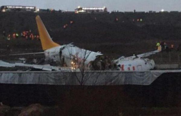 בהתרסקות מטוס פגאסוס באיסטנבול נהרגו 3 ונפצעו 179 אנשים