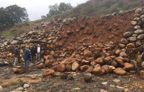חומת אבן  מתקופת בית ראשון קרסה בעקבות הגשם החזק